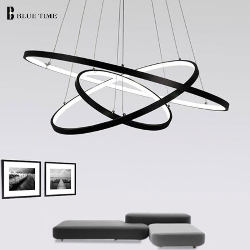 Moderne Led Kronleuchter Schwarz & Weiß Rrings LED Kronleuchter Beleuchtung Für wohnzimmer esszimmer Küche Hanglamp Leuchten