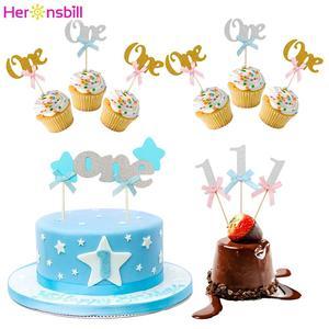 Image 1 - Heronsbil 10 pcs 첫 번째 생일 반짝이 종이 1 컵케익 toppers 1 생일 파티 장식 내 1 년 아기 소년 소녀 용품