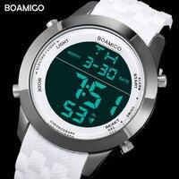 Men Sports Watches Men Digital Watches White Rubber Wristwatches 2017 BOAMIGO Fashion Brand LED Display Red