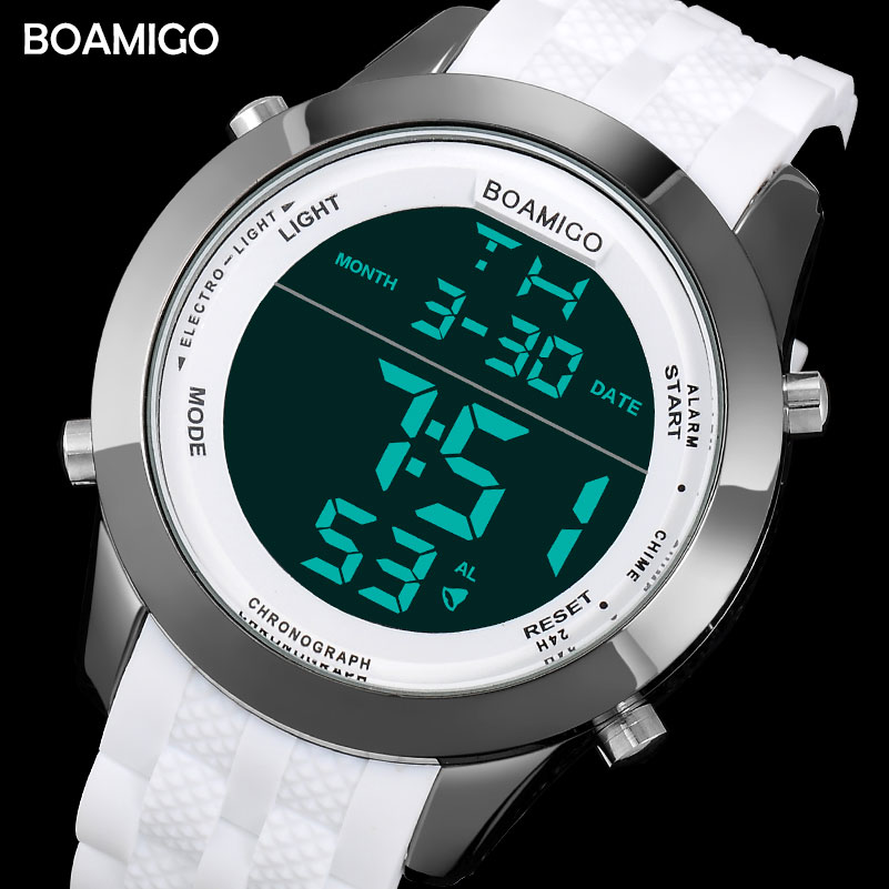 Men Sports Watches Men Digital Watches White Rubber Wristwatches 2017 BOAMIGO Fashion Brand LED Display Red Clock 30M Waterproof