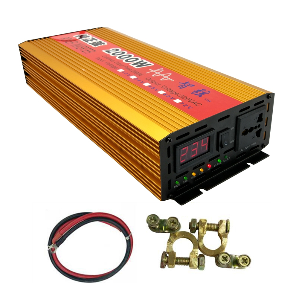 цена на Continuous Power 2000W Pure Sine Wave OFF Grid Inverter DC 12V/24V to AC 220V 50HZ Peak 4000W Power Converter Voltage Display