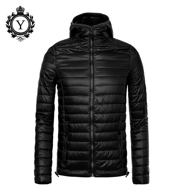 18bbe695 COUTUDI 2018 Ultralight Winter Jacket Men Solid Black Puffer Jacket Male  Spring Hooded Down Jackets & Coat Quality Parka Hombre