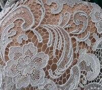 90cm Widht Silver Stread Lace Fabric As Prada Show Lace Hollow Embroidery Fabric Wedding Dress Fashion