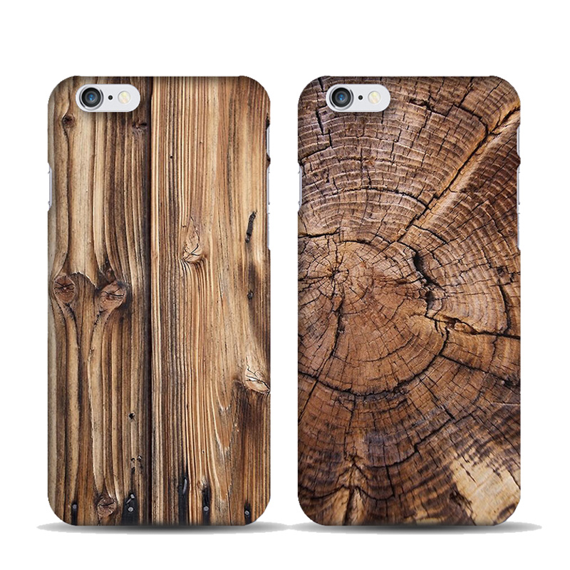 Natural Bamboo Wood Pattern Case for coque iphone 7 8 Plus 5 5S SE 6 6S Plus PC Hard Case Tree Growth Ring Wooden Cover Capinhas image