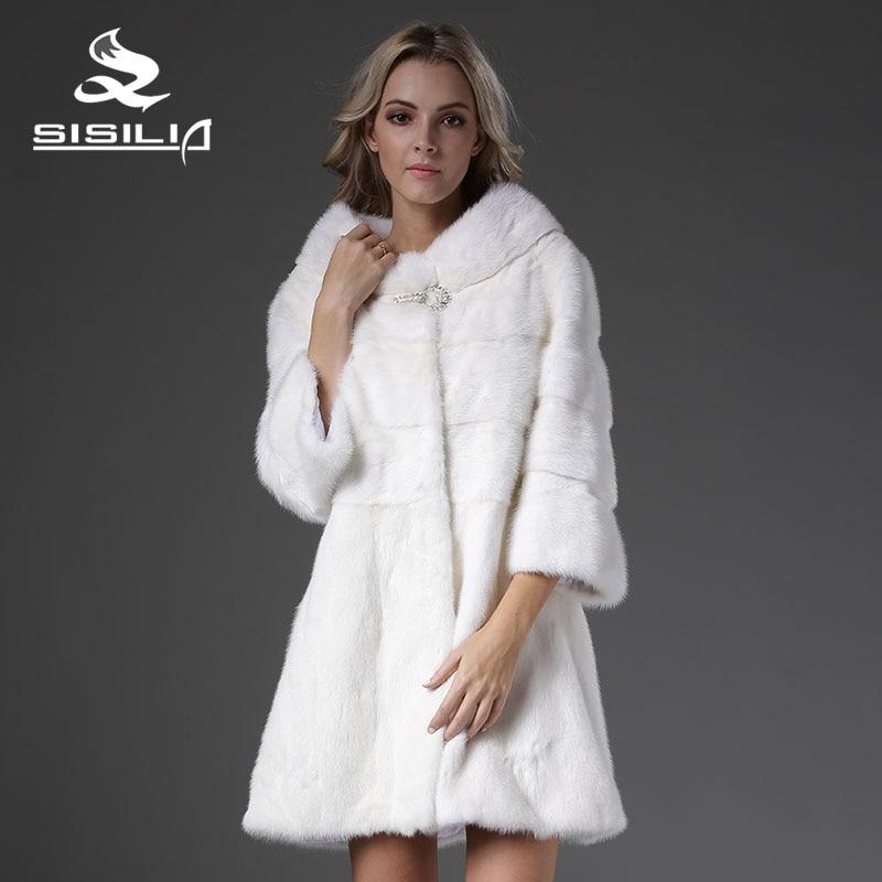 SISILIA 2016 New Women's Vrai Fourrure Mink Coat Nine Quarter Sleeves Fur Strip Handmade Sable Fur Coat Vison Tricotado