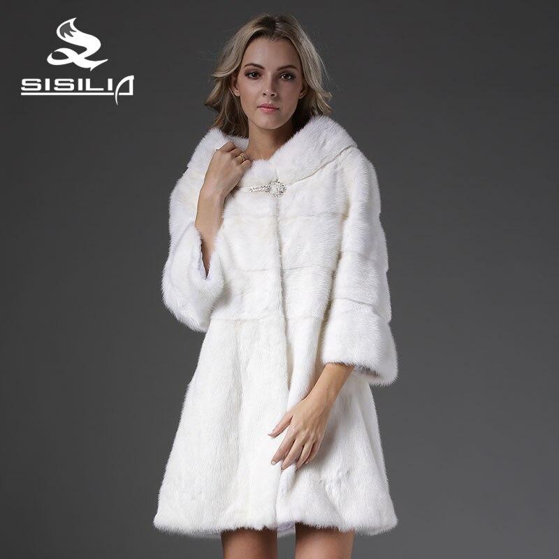 SISILIA 2016 nuevo abrigo de visón Vrai cuadrure para mujer con mangas nueve cuartos tira de piel hecho a mano abrigo de piel de Marta Vison Tricotado