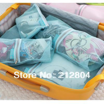 FREE SHIPPING  Candy color grid breathable travel storage bag set piece  3 color to choose