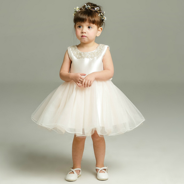 ed196bf65351 Light Pink Newborn Baby Girl Dresses Pearls for Wedding Princess ...