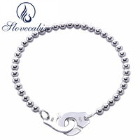 Slovecabin 2018 Valentine's Day gi 925 Sterling Silver Handcuff Bracelets For Women Silver Round Bead Wedding Bracelet Menotte