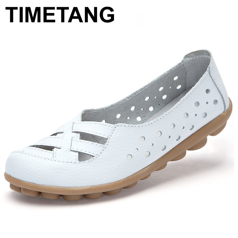 TIMETANG Women Loafers Lady Ballerina Shoes Woman Summer Flats Hollow Out Comfortable Soft Genuine Leather Moccasins Loafers new brand 2016 designer shoes woman flats summer ballerina shoe for women ballets flats loafers femme chaussures