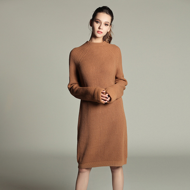 f917e3532e0 SheeYon Autumn and Winter Women s O-neck Long-sleeve knit dress sweater  knitted bottoming