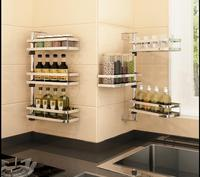 304 stainless steel kitchen condiments rack wall hanging seasoning wall to avoid the hole to receive shelves