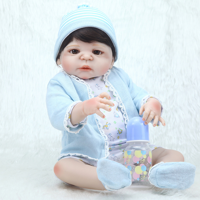 Silicone Full Body Reborn Dolls 23 '' Boneca Realistic Dolls Craft Baby Boy Fashion Kids Toy Waterproof Birthday Gifts Model