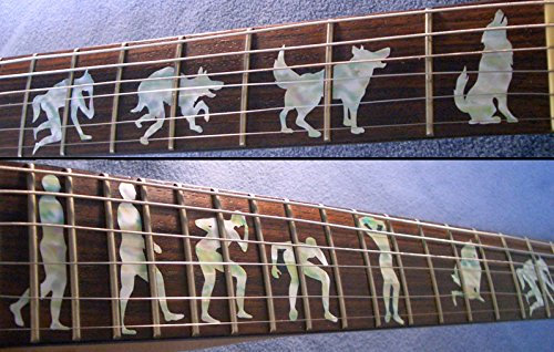 Fretboard Markers Inlay Sticker Decals for Guitar- Werewolf guitar or bass tree of life fretboard silver color inlay ultra thin sticker