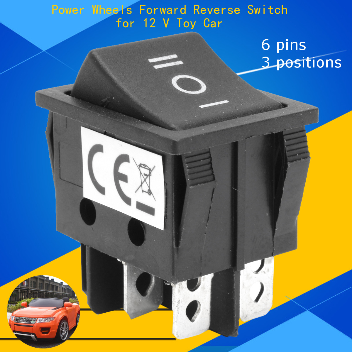 6 Pin 3 Positions T105/55 Forward Reverse Switch For 12V Toy Tyco Power Wheels Forward Reverse Switch  Car Power Wheel