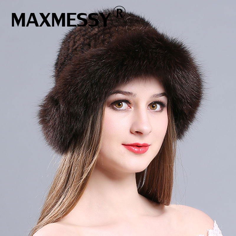 MAXMESSY Fox Fur 100% Real Mink Fur Hat Knitted Caps Women Lady Girl Skullies Beanies Autumn Winter Cap Winter Fur Hats mink skullies beanies hats knitted hat women 5pcs lot 2299