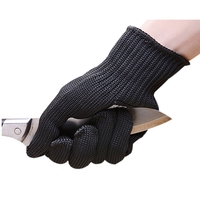 5 Pairs Black Safety Gloves Work Self Defense Gloves Cut Resistant Protective Stainless Steel Wire Butcher Anti Cutting Gloves