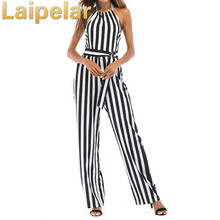 Laipelar 2018 sexy off shoulder women jumpsuit halter strapless casual striped summer bodysuit backless lace up playsuit rompers