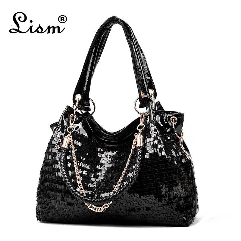 bags for women 2018 Fashion women bag Leather Sequins Women Handbags Shiny Ladies Handbag Chain Shoulder Bags Brand Designer