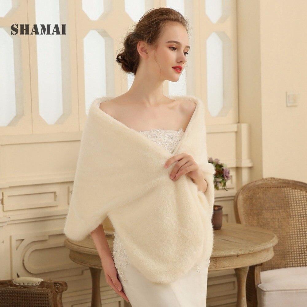 SHAMAI Women Winter Long Bridal Shawl Bridal Wraps Warm Faux Fur Wedding Wrap Boleros Real Photo Wedding Shawl Evening Cape