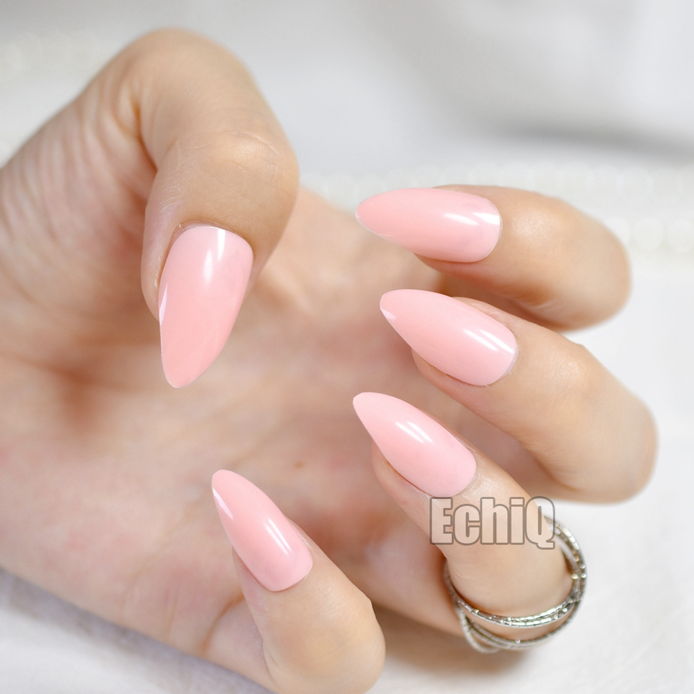 Fashion Pink Lotus Color Oval Sharp End Stiletto False Nails Baby Pointed Fake Tips