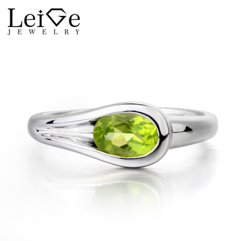 Leige Jewelry Female Ring Natural Green Peridot Ring Oval Cut Gemstone 925 Sterling Silver Fashion Fine Jewelry Solitaire Ring