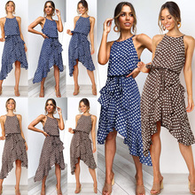 O-neck Sleeveless Casual Dress Women wave pointElegant Retro Dot Print Summer fashion Large
