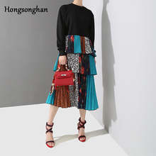 Hongsonghan 2019 Spring Female Womens O-neck Long Sleeve Loose Floral Patchwork Multi-layer Pleated Cake Dresses Robe Femme