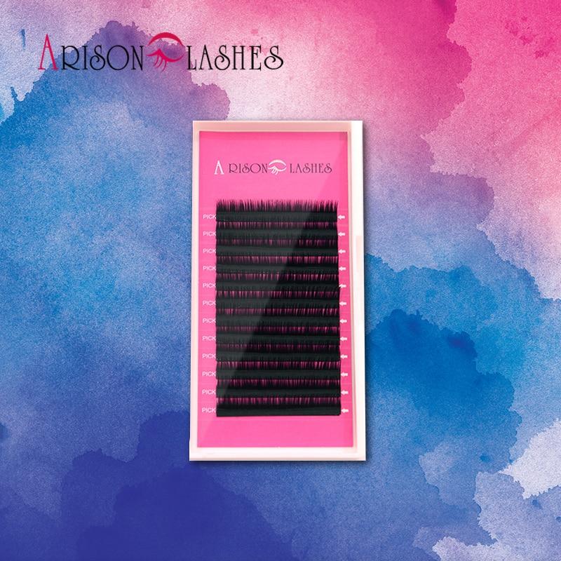 Arison Δωρεάν αποστολή ζεστό πώληση 1 τεμάχιο ατομικές βλεφαρίδες μαύρο χρώμα επέκταση βλεφαρίδων 0.07mm J / B / C / D όλα τα διαθέσιμα μεγέθη