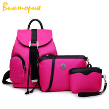 CHARAS brand women's backpack Three-piece suit high quality canvas Shoulder Bags + Clutch women Solid color High capacity bag