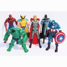 6X Marvel Халк + Капитан + Росомаха + Бэтмен + Паук Рисунок Коллекция Дети Фигурку Игрушки Робот WJ424