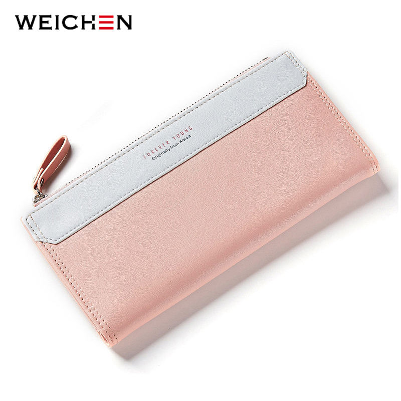 WEICHEN Lady Women Long Wallets Female Clutch Wallet Phone Coin Pocket Ladies Purse Women's Purses PU Leather Zipper&Hasp Bag 1pcs rose diary hero alliance pu zipper coin purses zero wallet child girl boy women purse lady zero wallets coin bag key bag