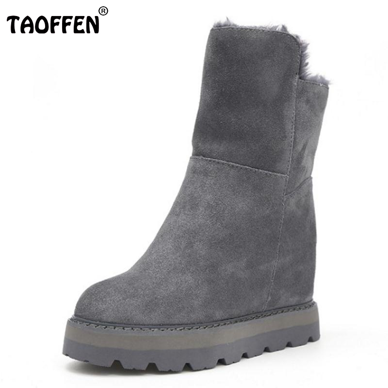 TAOFFEN  Women Winter Snow Boots For Women Thick Fur Warm Botas Female Height Increasing Thick Platform Shoes Women Size 35-39