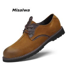 Misalwa Over Size Genuine Leather Men Shoes Spring Autumn Winter Men's Casual Oxfords Ultra Quality Retro Color Matching Shoes