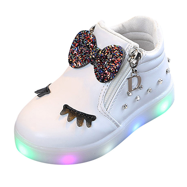 4e090b39b22b  4 DROPSHIP 2018 NEW HOT Fashion Kids Baby Infant Girls Cry stal Bowknot  LED Boots Sport Shoes Sneakers