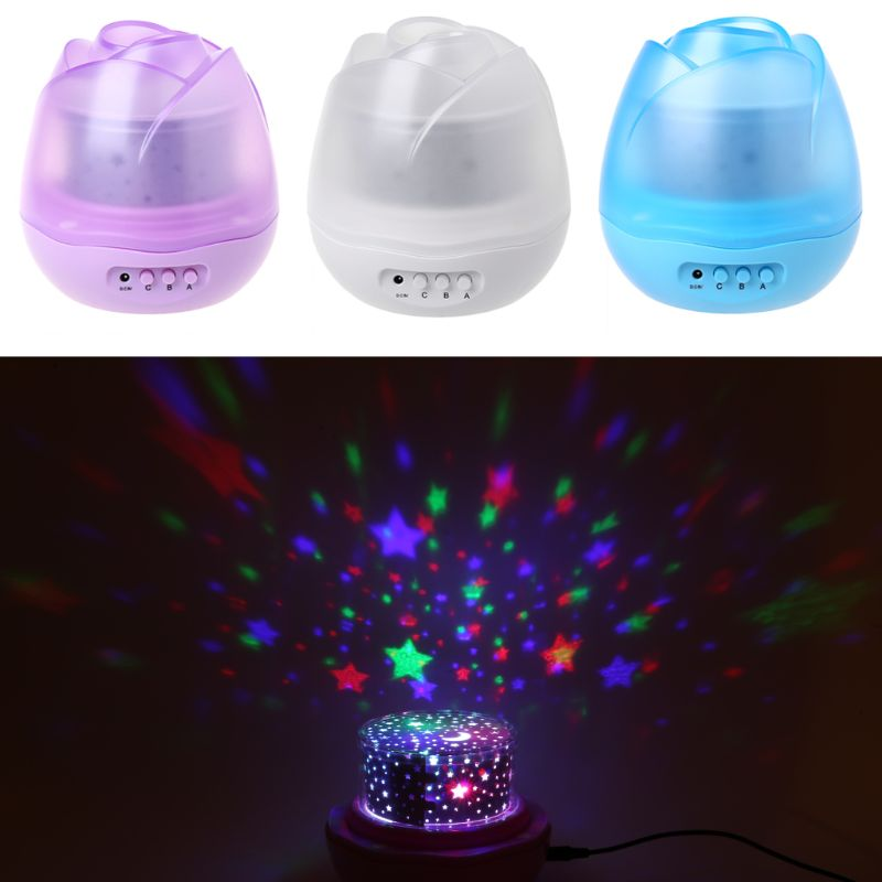 Rose Flower Shape Rotating Projector Lamp Romantic Night Light Star Moon Sky Projection Dec13