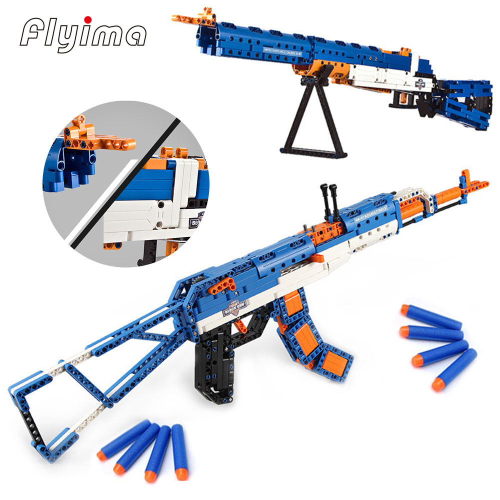 SWAT Emission Revolver Pistol Power GUN technic Arms Model Assembled Brick Set Weapon Legoe Compatible boy Toy Building Block