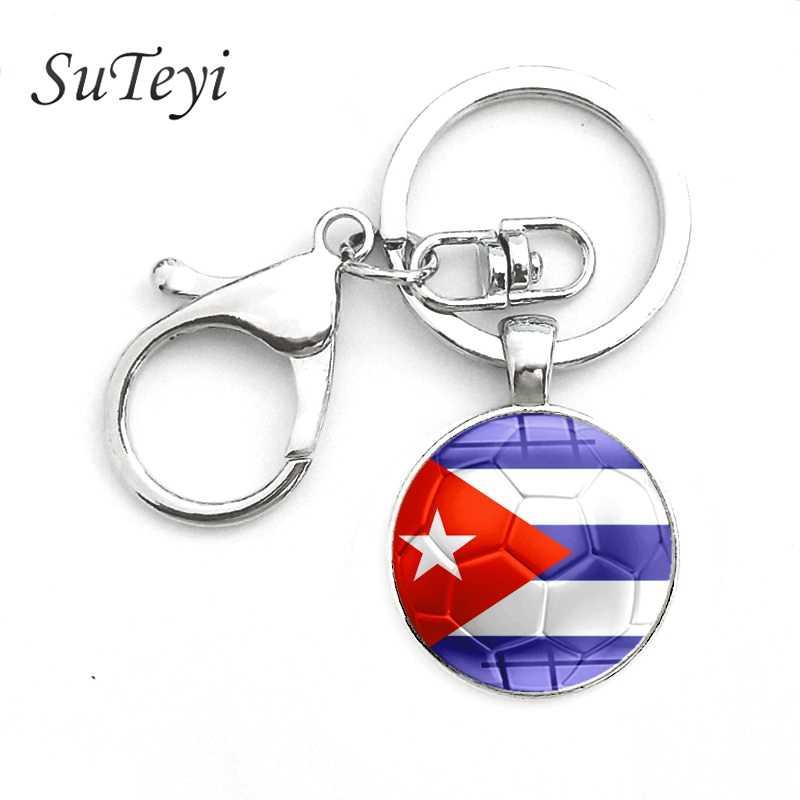 SUTEYI, флаги для футбола, флаги для футбола, брелок для ключей, хрустальные мужские Брелоки для ключей, футбольные ювелирные Брелоки для ключей