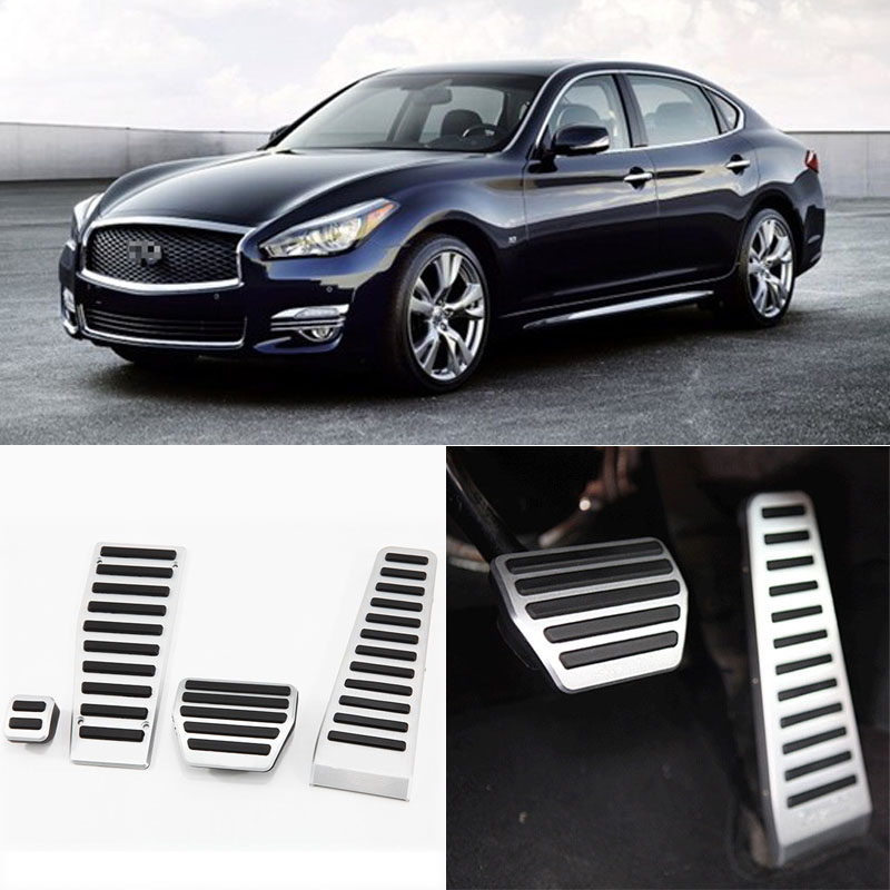 Brand New 4pcs Aluminium Non Slip Foot Rest Fuel Gas Brake Pedal Cover For Infiniti Q70/QX70 AT 2013-2016 brand new 3pcs aluminium non slip foot rest fuel gas brake pedal cover for audi q3 at 2013 2016