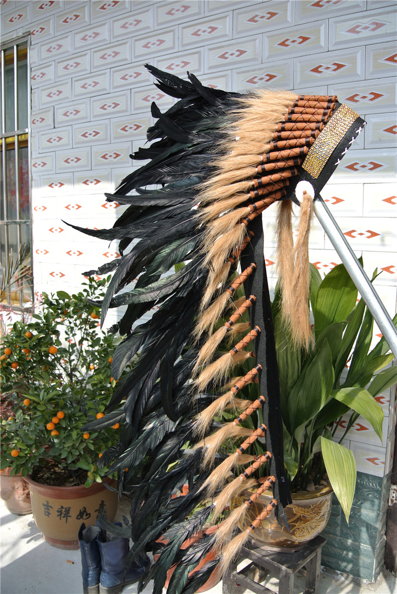 Black 36inch Feather Headdress With Gold Band Feather Headpiece Handmade Halloween Feather Costume