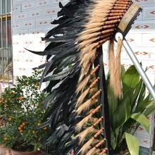Черный 36 дюймов перо головной убор с золотой лентой перо головной убор ручной работы Хэллоуин перо костюм