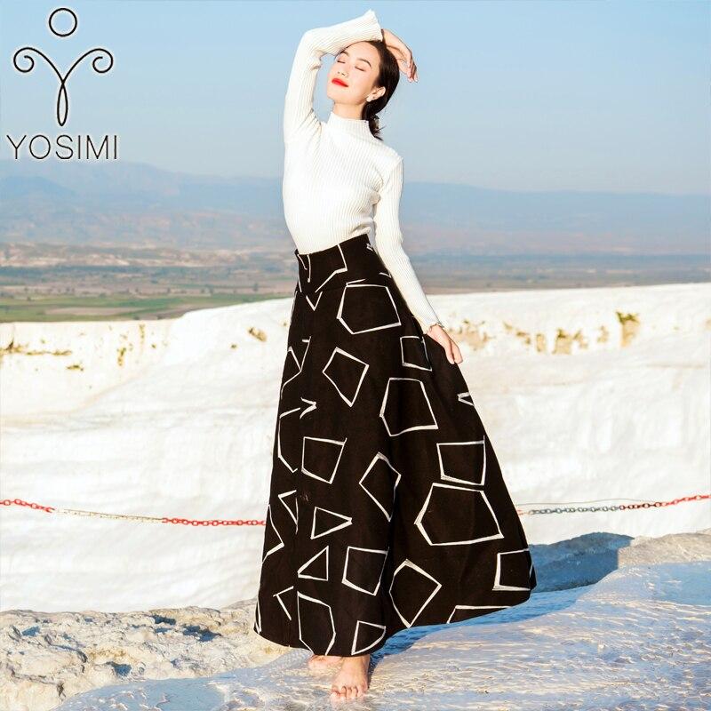 YOSIMI 2018 зимнее женское платье для женщин комплект из двух предметов пуловер с длинными рукавами Блузка + шерстяная юбка костюм комплект из 2 п...