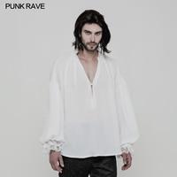 Black White Colours New Punk Rave Rock Gothic Fashion Casual V Neck Solid Classic Retro Men's T Shirt WY852