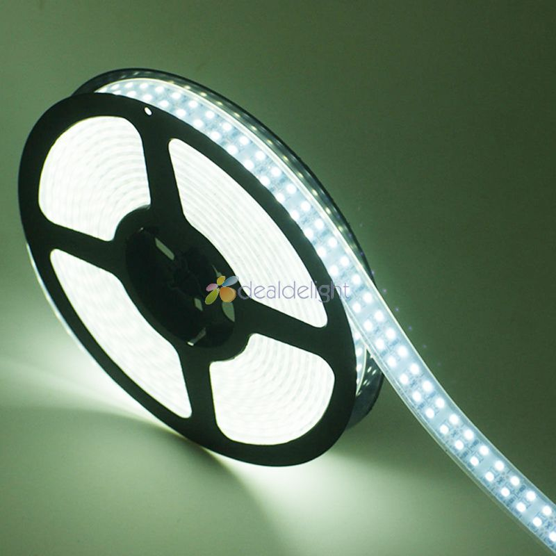 DC12V 5M/Lot 3528 SMD 1200 Leds Double Row IP66 Silicone Tube Waterproof Flexible LED Strip Light White color Free Shipping