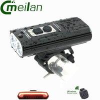 רכיבה על אופניים אופניים פנס הקדמי XM-L2 לפיד מתח גבוה LED & טעינת USB meilan X5 Wireless אופני אור אחורי לייזר אורות