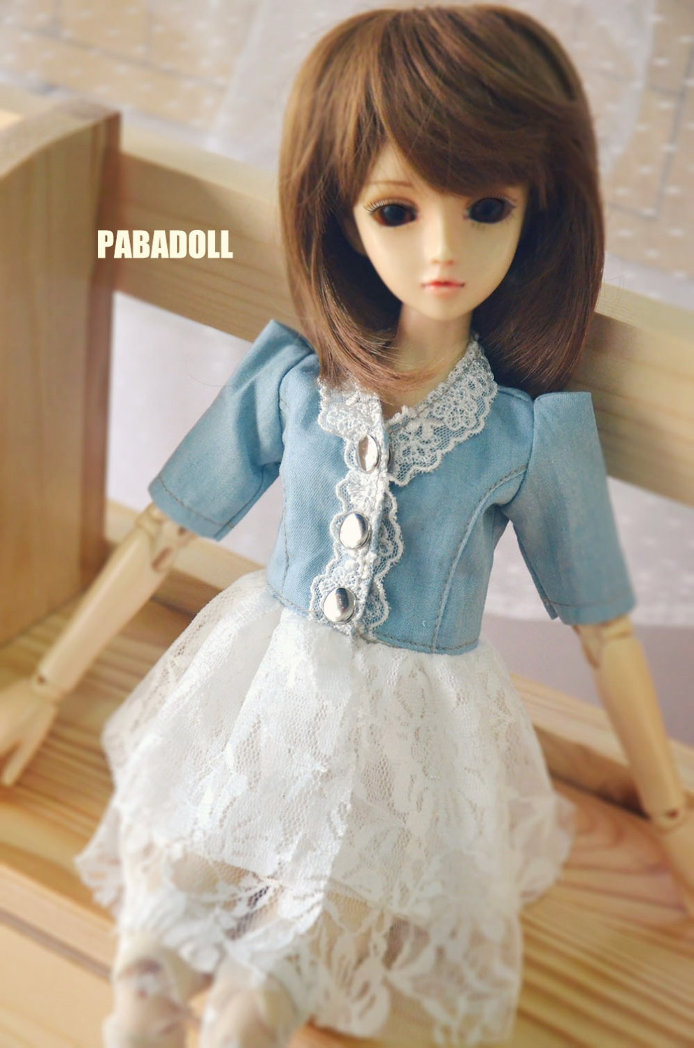 New BJD Doll Jeans Lace Dress for Bjd doll 1/6YOSD 1/4 MSD,1/3,SD10 SD13,SD16 IP EID Luts DOD,SD Doll Clothes CWB21 new 1 3 22 23cm 1 4 18 18 5cm bjd sd dod luts dollfie doll orange black short handsome wig