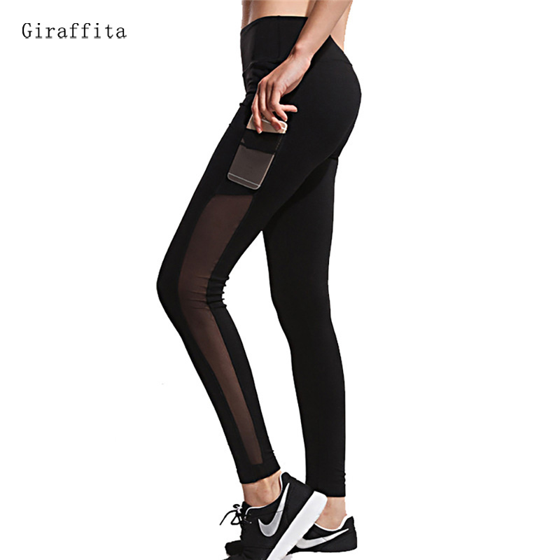 Giraffita Women Workout Leggings High Elastic Waist Mesh Splicing Thin Pants For Fitness Workout Breathable Women Fitness Pants