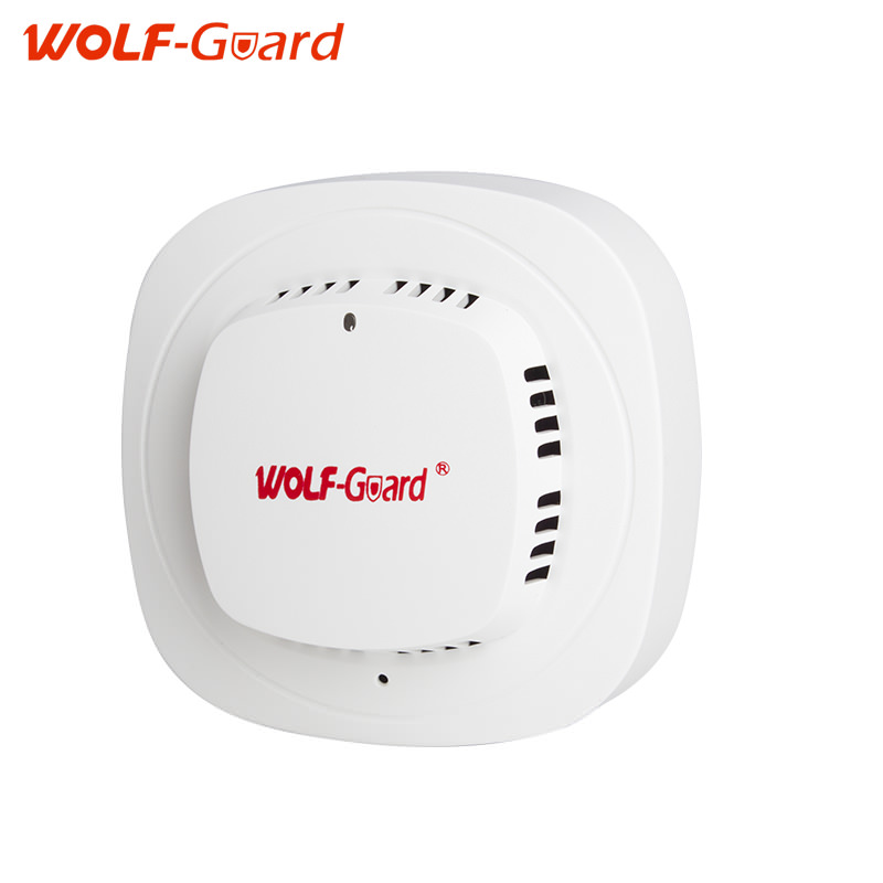 WOLF-Guard White 433mhz Wireless alarm sensors Wireless fire smoke detector with 85dB Alarming Sound sensor alarm siren personal guard safety security siren alarm with led flashlight white 2 cr2032
