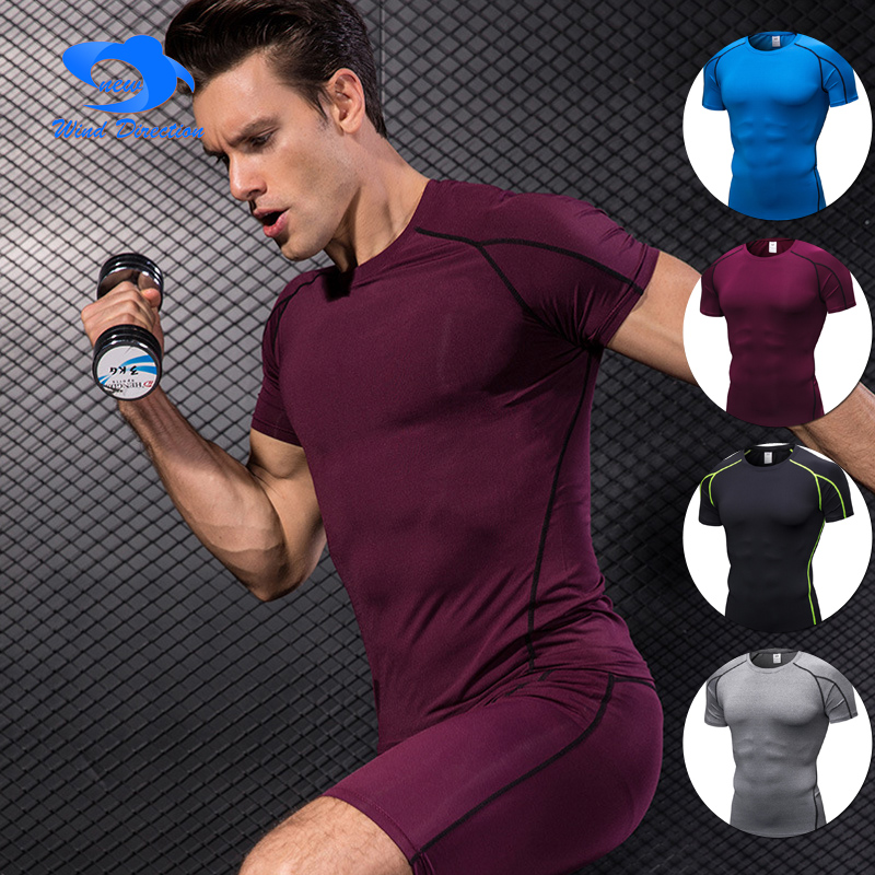 Man PRO tight short sleeves multi-color Fitness and sports running training Fast dry T - ...