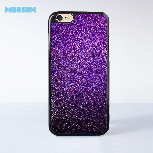 the best attitude b5576 488c0 US $5.99  Cute Purple Glitter Cell Phone Protective Case For iPhone X 8 8+  7 7+ 6 6S Plus SE 5 5S 5C 4 4S Hard Plastic Cell Cover-in Half-wrapped ...
